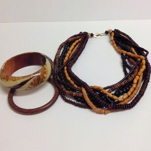 Vintage wooden bead necklace and bangle bracelets
